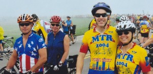 Newlyweds Doug and Denise with John and Madelyn in the fog - mass start in Columbus