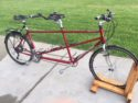 Mid 90's Santana tandem bike with many new upgrades including 9 speed handlebar twist shifters, medium rise handlebar and triple chainring.